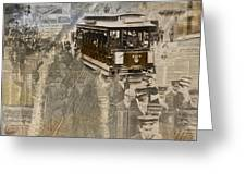 New York Trolley Vintage Photo Collage Greeting Card