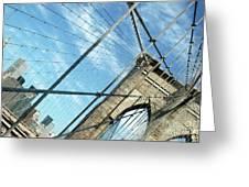 New York Usa  Brooklyn Bridge Towards Manhattan. Greeting Card