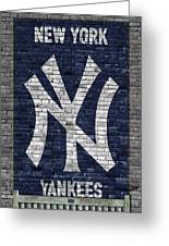 New York Yankees Brick Wall Greeting Card