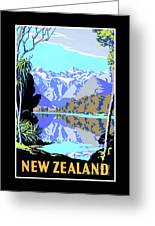 New Zealand Lake Matheson Vintage Travel Poster Greeting Card