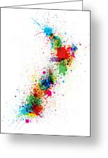New Zealand Paint Splashes Map Greeting Card
