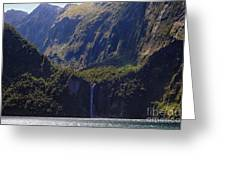 New Zealand Stirling Falls In Hanging Valley Greeting Card