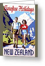 New Zealand Vintage Travel Poster Restored Greeting Card