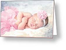 Newborn Girl Asleep In A Tutu Greeting Card
