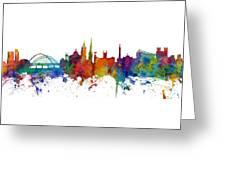 Newcastle England Skyline Custom Panoramic Greeting Card