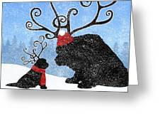 Newfie Reindeer Greeting Card