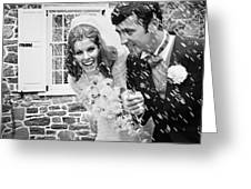 Newlyweds Showered With Rice, C.1960-70s Greeting Card
