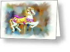 Newport Beach Carousel Horse Greeting Card