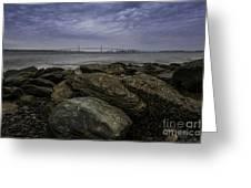 Newport Bridge Under Dramatic Sky Greeting Card