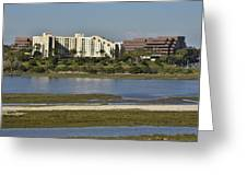 Newport Estuary Looking Across At Major Hotel And Businesses Greeting Card