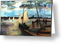 Newport Moonlight Sail Greeting Card