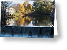 Newton Upper Falls Autumn Waterfall Reflection Greeting Card