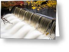 Newton Upper Falls Autumn Waterfall Greeting Card
