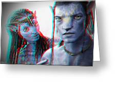 Neytiri And Jake Sully - Use Red-cyan 3d Glasses Greeting Card