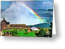 Niagara Falls And Welcome Centre With Rainbow Greeting Card