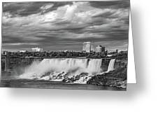 Niagara Falls - The American Side 3 Bw Greeting Card