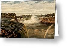 Niagara Falls With Rainbow, 1860 Greeting Card