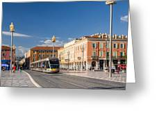 Nice Tramway At Place Massena Greeting Card