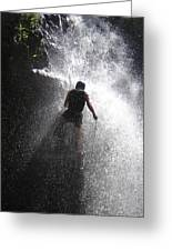 Nick Dale Abseiling Down A Kenyan Waterfall Greeting Card