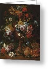 Nicolaes Van Veerendael Antwerp 1640 - 1691 Still Life Of Roses, Carnations And Other Flowers Greeting Card