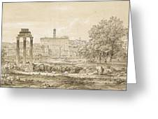 Nicolas-didier Boguet   1755 - 1839   View Of The Roman Forum With The Temple Of Castor Greeting Card