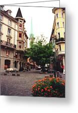 Niederdorf Square In Zurich Switzerland Greeting Card