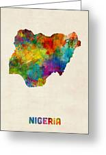 Nigeria Watercolor Map Greeting Card