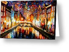 Night Amsterdam Greeting Card
