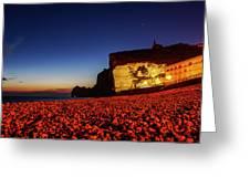 Night At Etretat Beach Greeting Card