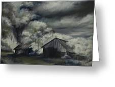Night Barn Greeting Card by James Christopher Hill