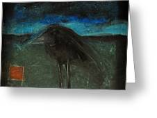 Night Bird With Red Square Greeting Card