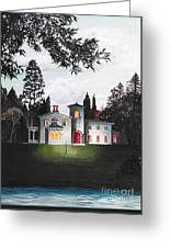 Italian House Country House Detail From Night Bridge  Greeting Card