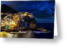 Night Comes To Manarola Greeting Card