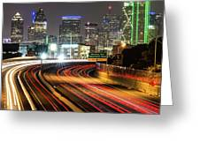 Night Dallas Skyline Square Format Greeting Card by Gregory Ballos