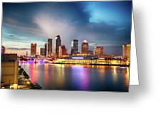 Night Downtown River Greeting Card