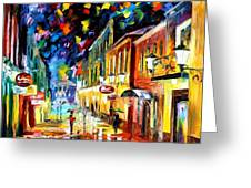 Night Etude - Palette Knife Oil Painting On Canvas By Leonid Afremov Greeting Card