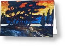 Night Fall On The Lake Greeting Card