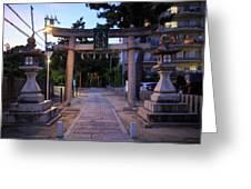 Night Falls On Esaka Shrine Greeting Card