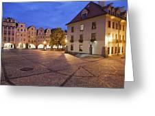 Night In City Of Jelenia Gora In Poland Greeting Card