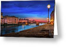 Night In Florence Italy Greeting Card