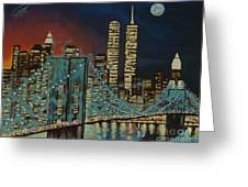 Night In Manhattan Greeting Card by Milagros Palmieri