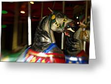 Night Mares At The Central Park Carousel 3 Greeting Card