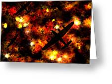 Night Raid - Lancaster Bomber Greeting Card