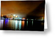 Night Reflections Hudson River Ny Nj Greeting Card