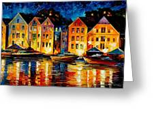 Night Resting Original Oil Painting  Greeting Card