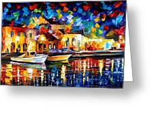 Night Riverfront - Palette Knife Oil Painting On Canvas By Leonid Afremov Greeting Card