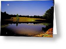 Night Scape Pond Greeting Card
