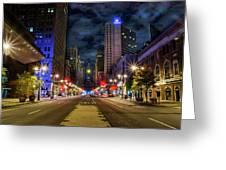Night Shot Of Broad Street - Philadelphia Greeting Card