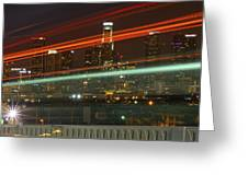 Night Shot Of Downtown Los Angeles Skyline From 6th St. Bridge Greeting Card