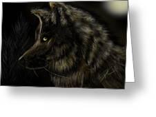 Night Silent Wolf Greeting Card